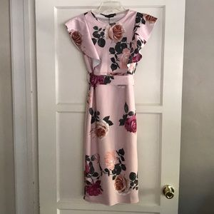 Dusty Pink Floral Print Dress Size 6